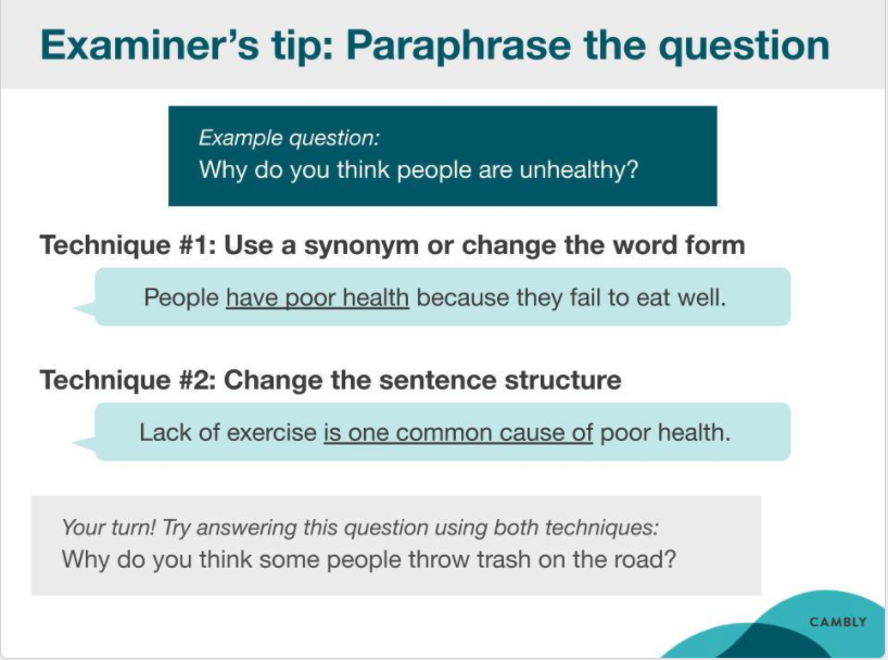 IELTS lesson slide example