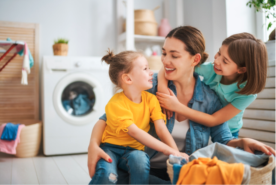 mother kids laundry