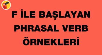 f ile başlayan phrasal verb örnekleri