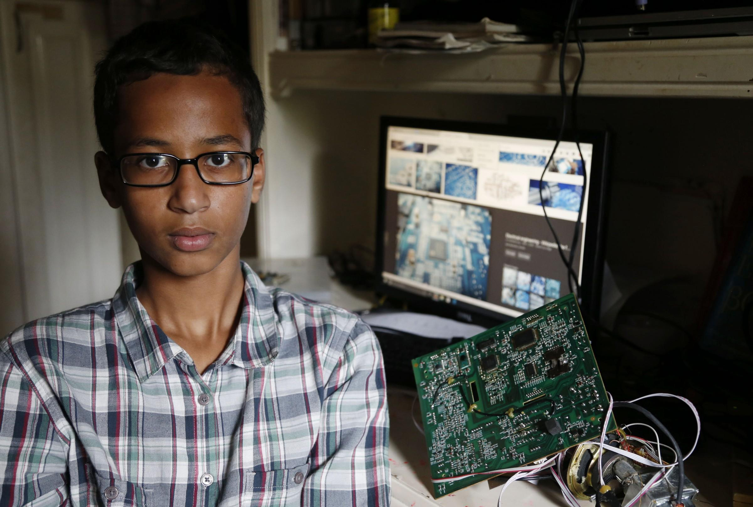 15 Sep 2015, Irving, Texas, USA --- Irving MacArthur High School student Ahmed Mohamed, 14, poses for a photo at his home in Irving, on Tuesday, September 15, 2015. Mohamed was arrested and interrogated by Irving Police officers on Monday after bringing a homemade clock to school. (Vernon Bryant/The Dallas Morning News) --- Image by © Vernon Bryant/Dallas Morning News/Corbis