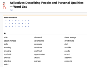 Adjectives to describe people and their qualities